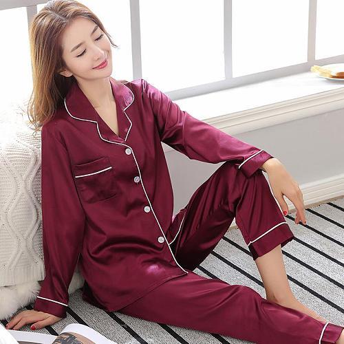Burgundy Spring Women Nightwear 2pc Shirt Pants Sleep Pajamas Sets Sleepwear Faux Silk Silky Nightgown Robe Bath Gown Clothes