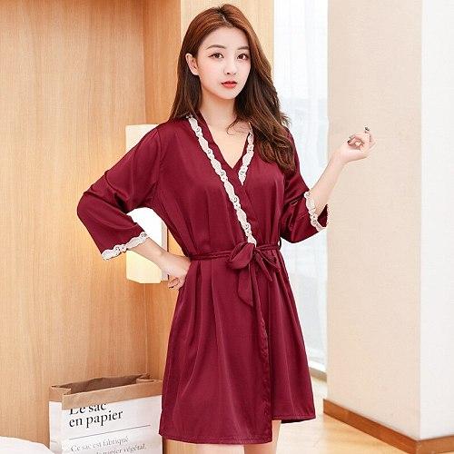 Women Kimono Robe Gown Set Satin Sexy V-Neck Side Splite Nightdress Suit Sweet Lace Leaf Trim Home Wear Casual Sleepwear