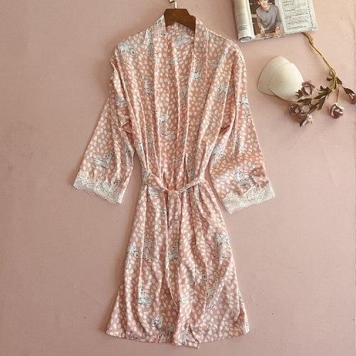 Summer Print Kimono Bathrobe Womens V-Neck Nighty Robe With Belt Sleepwear Casual Home Wear Nightwear Silky Lounge Nightgown