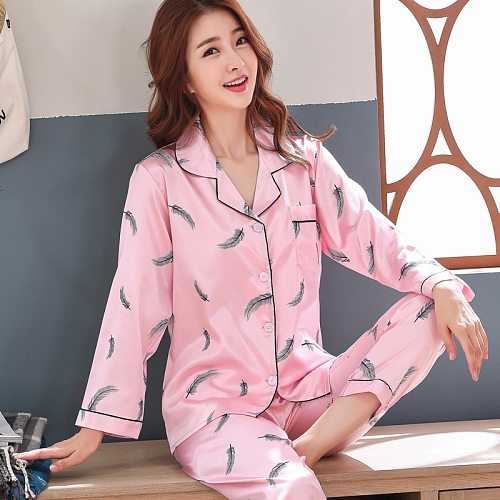 Nightwear Suit Spring Women Shirt Pants Sleep Set Lounge Turn-down Collar Pajamas Long Sleeve Robe Pyjama Nighties Homewear