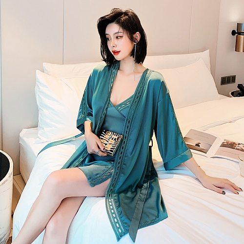 Sleepwear Set Women 2PC Nightshirts V-Neck Pajamas Spring Wear Home Suit Negligee Robe Gown Bathrobe Silky Nightdress Homewear
