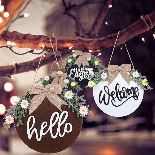 1PC Hanging Sign Printed Wooden Holiday Decor for Valentine's Day Easter Spring Home Window Wall Farmhouse Wooden Hanging Sign