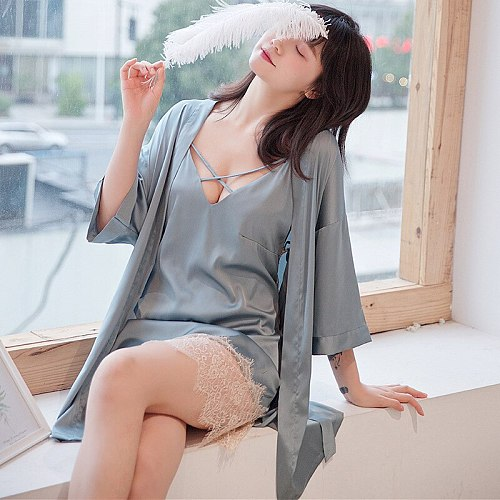 Sexy Womens Night Robe Strap Top Pajamas Suit Spring Two Piece Sleepwear Sets Casual Home Wear Nightwear Sleep Kimono Bath Gown