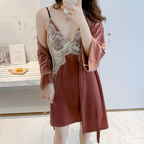 Sweet Lace Trim Kimono Robe Gown Suit Autumn Velour New Lady Casual Sleepwear Chest Bra Sexy V-Neck Backless Strap Nightwear
