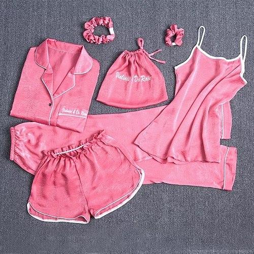 Autumn New Women 7PCS Pajamas Suit Turn-down Collar Shirt&Pant Home Clothes Lounge Satin Nightwear Letter Print Sleepwear
