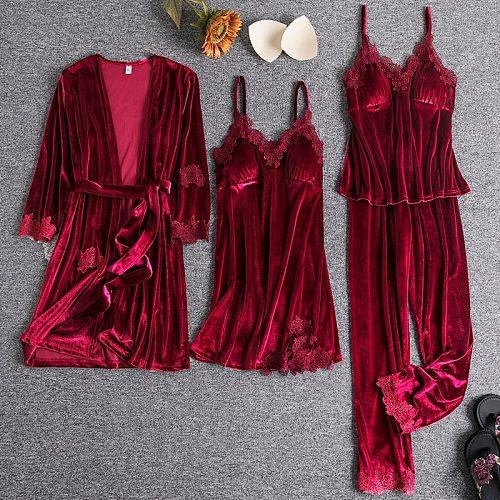 Velour Pajamas Suit Burgundy Womens 4PCS Nightgown Sleep Set Spring Robe Gown Sleepwear Pijamas Velvet Nightwear Home Clothing