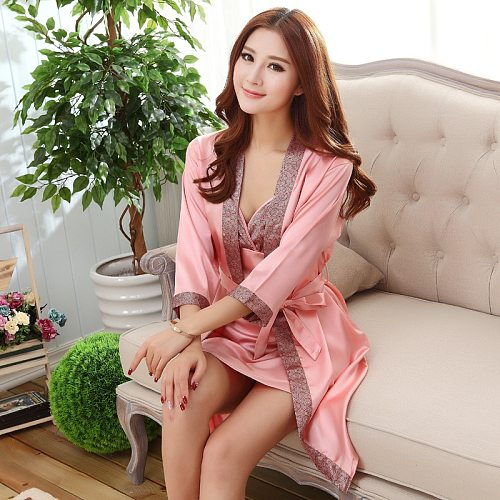 Summer Sexy 2PC Nightgown Sleepshirts Womens Robe Mini Kimono Bath Gown Faux Silk Sleepwear Casual Silky Nightwear Female Dress