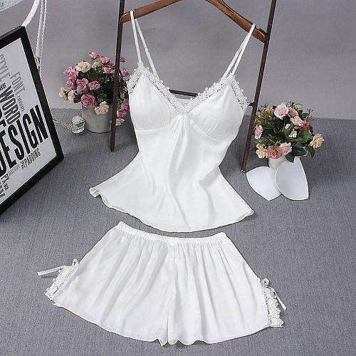 2PCS Chest Pads Pajamas Sets Summer Lady Strap Top&Shorts Sleepwear Satin Lace Sexy Sleeveless Pijamas Lounge Intimate Lingerie