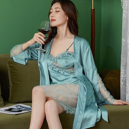 Lace Bathrobe Gown Sets 2PCS Womens Kimono Robe Nightgown Sleep Suit Sexy Hollow Out Bride Summer Nighty Sleepwear Home Dress