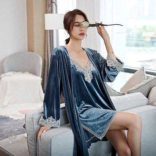 Sexy Autumn Women 2PC Kimono Robe Gown Set Velour Home Dress Lace Trim V-Neck Side Splite Nightdress Suit With Belt Bathrobe