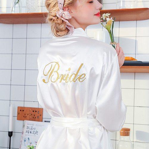 White Bride embroidery Robe Summer Women's Wedding Dressing Kimono Bath Gown Lady Yukata Nightgown Pijama Mujer M L XL XXL