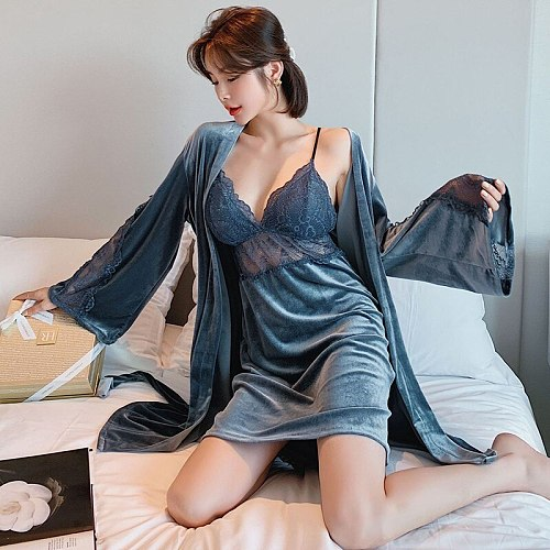 Gray Velour Robe Gown Sets 2 Two Pieces Womens Nighty Bathrobe Nightgown Sleep Suit Lace Hollow Out Sleepwear Spring Home Clothe