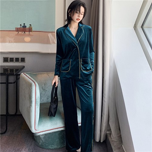 Sexy Women Velour 2PC Top Pants Pajamas Sets Sleepwear Winter Lady Home Wear Nightgown Suit Robe Bath Gown Sleepshirts M-XL