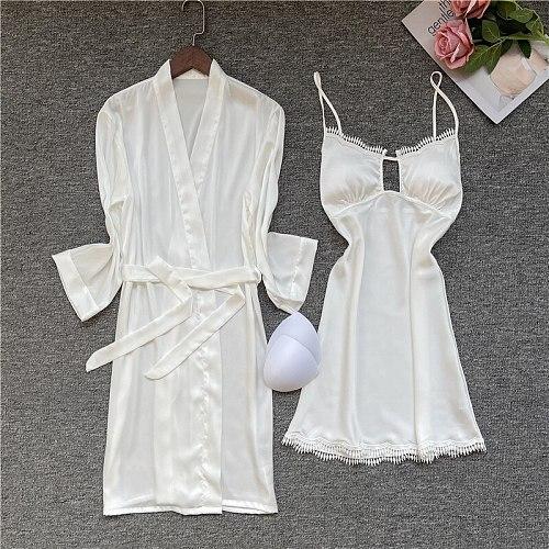 2PC Nighty Bathrobe Deep Suit V-Neck Kimono Robe Gown Set Lady Sexy Nightgown Spring Casual Satin Sleepwear Lace Trim Home Dress