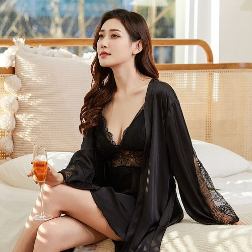 Summer New 2PCS Robe Gown Sets Sexy Lace Sleepwear Nightgown Female Nighty Bathrobe Sleep Dress Satin Hollow Out Nightdress