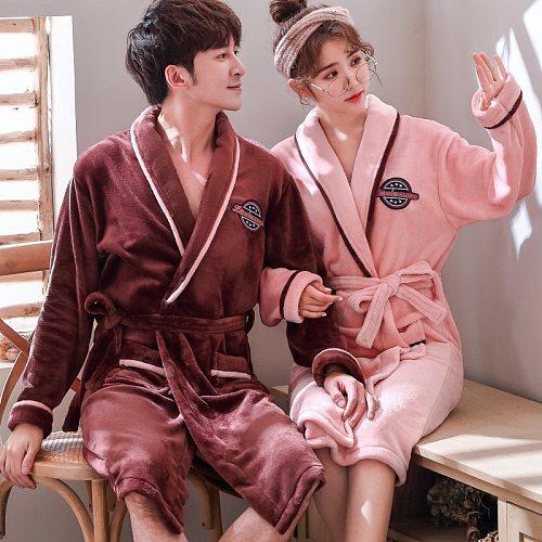 Couples Winter Coral Fleece Kimono Nighty Robe With Belt Pocket Flannel Home Wear Yukata Nightgown Mens Womens Loose Sleepwear