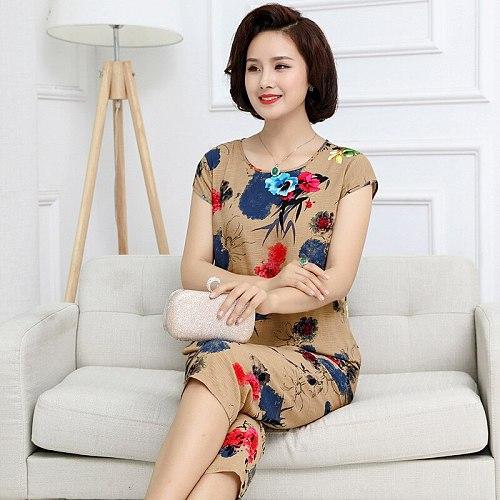Plus Size XL-4XL Womens Nightwear 2pc Tops Pants Sleep Pajamas Sets Sleepwear Summer Cotton Nightgown Robe Clothes