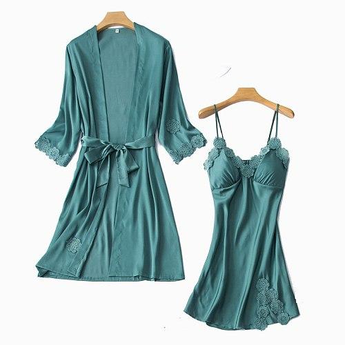 Sleep Sets Womens 2pcs Robe Suit Spring Sleepwear Casual Nighty Wear Pajamas Sexy Strap Nightwear Kimono Bath Gown Homewear