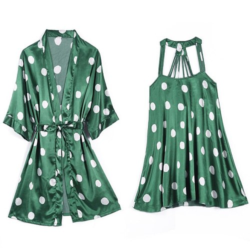 Silky Nightdress Set Women 2PC Nightshirts V-Neck Pajamas Print Sleepwear Homewear Wear Home Suit Negligee Robe Gown Bathrobe