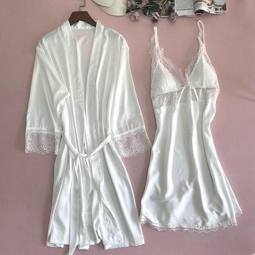 2PCS Satin Lace Robe Gown Sets Sexy Womens Nighty Bathrobe Nightdress Sleep Suit Kimono Nightwear With Chest Pads Sleepwear