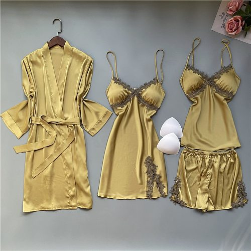 4PC Pajamas Set Sexy Strap Top&Short Sleepwear Nightgown Lady Lace Pyjamas Sleep Suit Casual Home Clothes Spring Nightwear