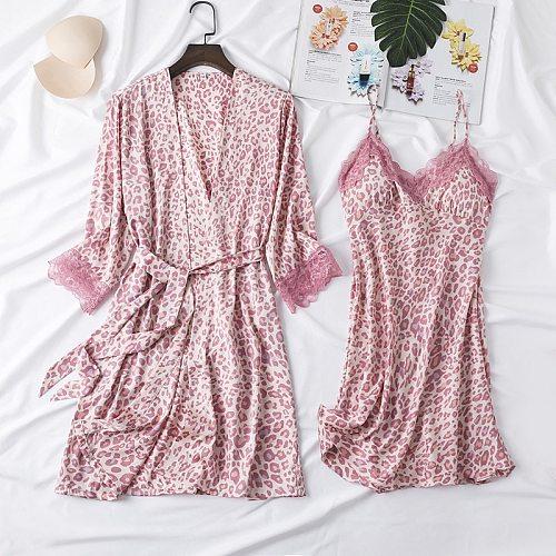 Nighty Pajamas Set Womens Robe Gown Sexy 2PCS Nightsuits V-Neck Nightdress Sleep Suit Nightshirts Kimono Pyjama Home Clothes