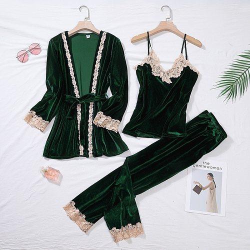 Green Velour Pajama Suit Women 2PCS Robe Nightgown Set Sleepwear Lady Winter Velvet Warm Lace Folwer Kimono Bathrobe Gown M-XL