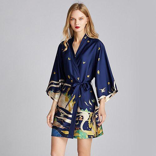 Oversize Sleepwear Print Pajamas Nighties Womens Kimono Gown Robe Bathrobe Loose Lounge Lingerie Spring Nightwear Home Clothes