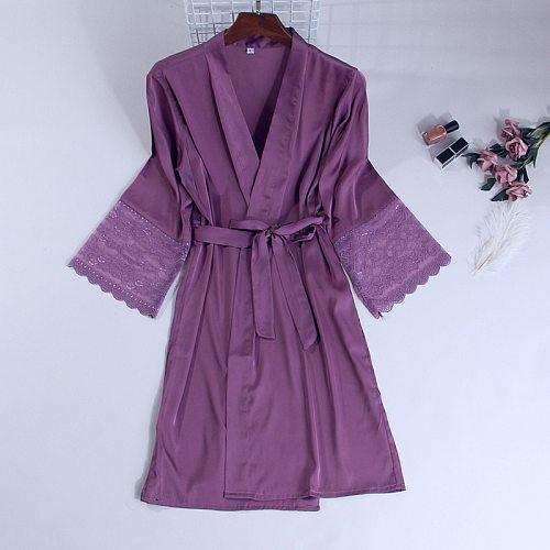 Bridal Wedding Robe Womens Pajamas Bridesmaid Short Kimono Sleep Nightgown Lace Yukata Gown Sleepwear Summer Bathrobe Pyjama