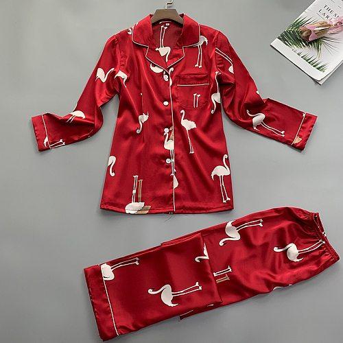 Summer Women Shirt Trousers Pajamas Sets Sleepwear Lady Home Wear Two piec Nightgown Suit Robe Bath Gown Sleepshirts M-XL