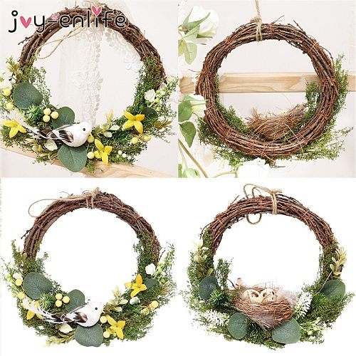 Easter Decoration Wreath Home Decor Natural Rattan Wreath Bird Nest green leaves Easter Party Wreath Craft Spring Wedding Wreath