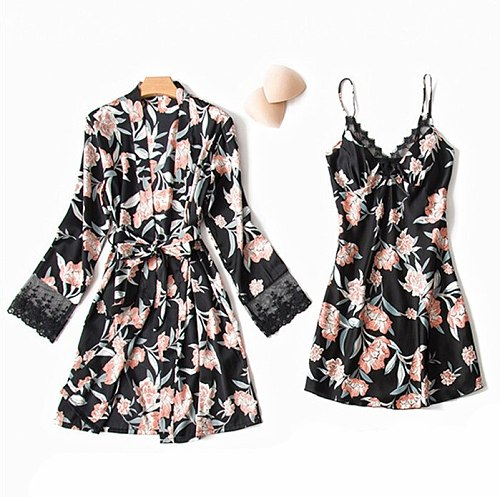 Robe Suit Sexy Pajamas Gown Set Womens V-Neck Cami Nighties 2PC Lace Wear Pijama Print Home Nightwear Lingerie Spring Chest Pads