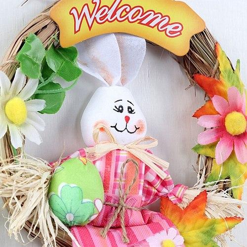 Happy Easter Garland Ornaments DIY Crafts Decor Scarecrow Wreath for Home Door N1HA