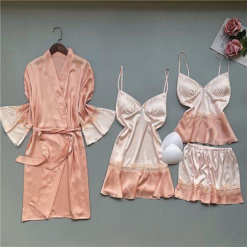 4PCS Lace Trim Pajamas Set Lady Lounge Nightwear Sexy Strap Top&Short Home Wear Pijamas Spring Faux Slik Sleepwear Sleep Suit