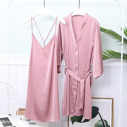 Sexy Nighty Sleepwear Nightgown Spring Womens 2pcs Robe Gown Sets Bride V-Neck Bathrobe Casual Solid Kimono Strap Nightdress