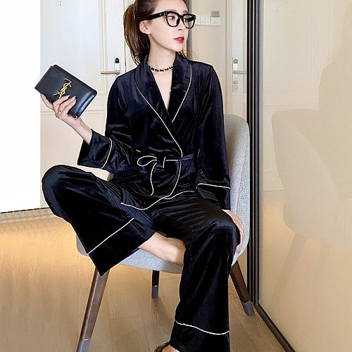 Two Pieces Velour Pajamas Sets Womens Long Sleeve Top Pants Pyjamas With Belt Sleepwear Sleep Suit Spring Casual Homewea
