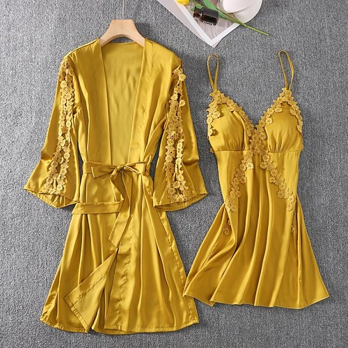 Sexy Female Sleepwear Satin Robe Set Summer Kimono Bathrobe Print Floral Bride Bridesmaid Dressing Gown Casual Nightgown