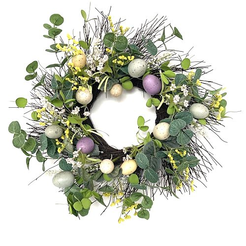 Easter Egg Wreath Door Decoration Wall Hanging Easter Party Decor Rattan Artificial Flower For Home Diy Crafts Ring Wreath C23