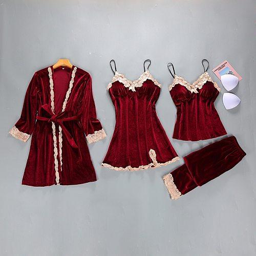 Womens Velour 4PC Top Long Pants Suit Night Robe Sleepwear Sets Casual V-Neck Pajamas Autumn Winter Nightwear Kimono Bath Gown