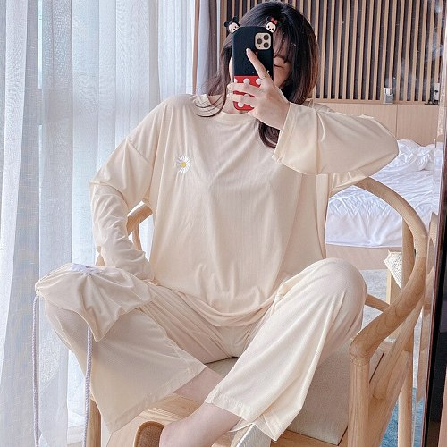 Beige 2PCS Pajamas Suit Sweet Daisy Embroidery O-Neck Top&Pant Sleepwear With Cloth Bag Nightwear Spring Autumn New Home Wear