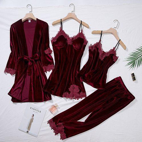 Burgundy Velour Pajama Suit Women 4PCS Kimono Robe Nightgown Set Sleepwear Lady Winter Velvet Warm Lace Folwer Bathrobe Gown