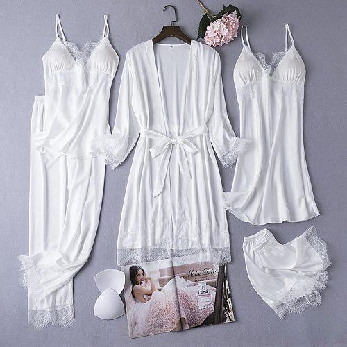 Sexy Lace Satin Robe Gown Sets Womens 5PCS Nighty Bathrobe Nightgown Sleep Suit Spring Sleepwear Home Kimono Intimate Lingerie