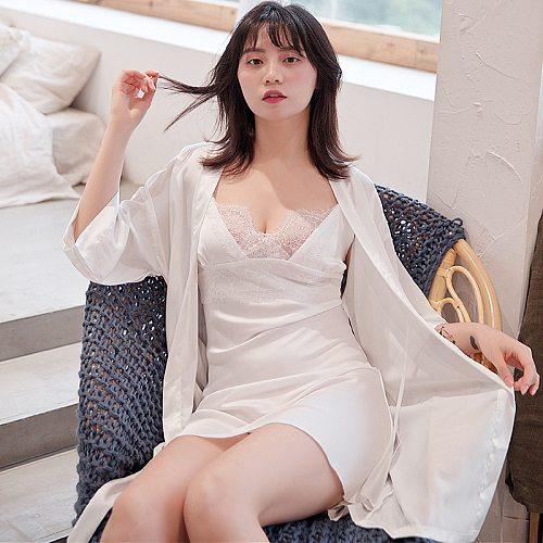 Sexy Women 2PC Strap Top Pajamas Sets Kimono Sleepwear Summer Lady Home Wear Nightgown Suit Robe Bath Gown Sleepshirts M-XL