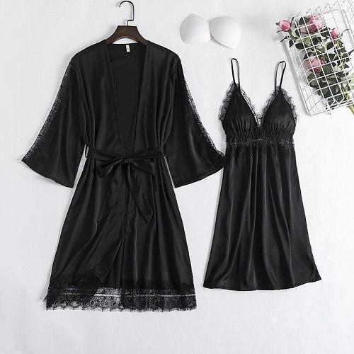 Bride Nighty Robe Nightgown 2PCS Lace Bathrobe Gown Sets Sexy Womens Summer Silky Satin Komono Strap Dress Sleepwear Sleep Suit