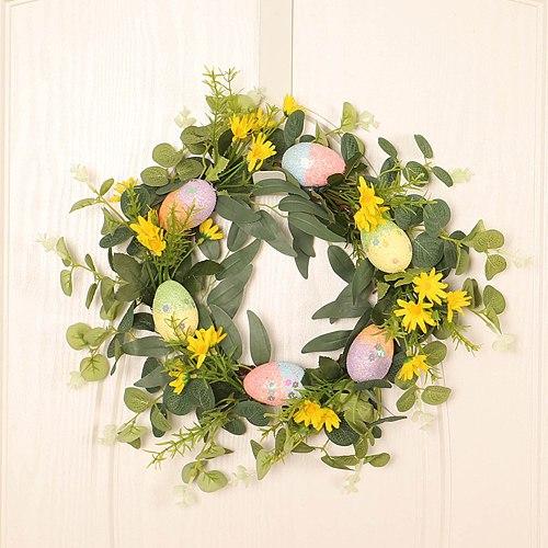 35cm Easter Decoration Wreath Simulation Egg Leaflet Eucalyptus Wreath Door Hanging Pendant Home Living Room Decor Ornament
