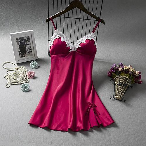 Sexy Women V-Neck Sleepshirts Sexy Sleep Robe Sleeveless Nightdress Lace Nightwear Gown Nightsuits Strap Backless Nightgown