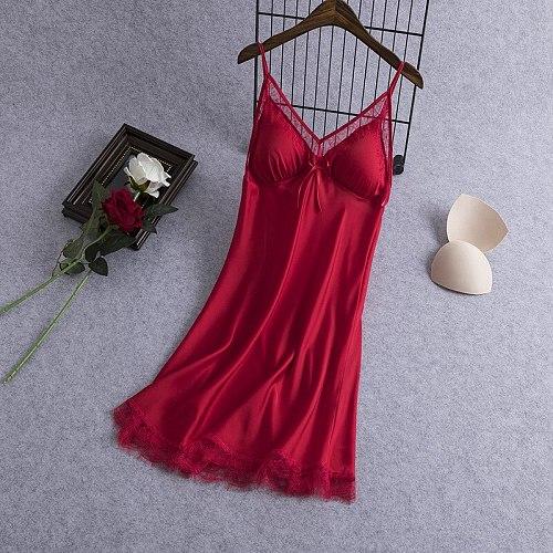 V-Neck Sleeveless Robes Womens Negligee Suspender Gown Nightgown Summer Sleepwear Sleepshirts Lingerie Dress Homewear