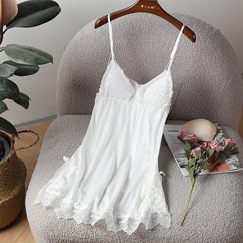 Lace Backless Strap Nightgown Sexy Womens Satin Nightdress Summer Sleeveless Nighty Gown Lounge Sleepshirt Home Wear Sleep Dress