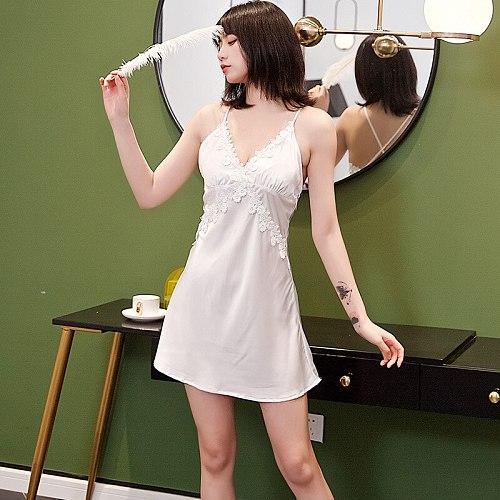 Sexy Sleep Gown Nightgown Womens Spaghetti Strap Nighty Dress V-Neck Backless Nightdress Summer Lace Flower Sleepshirt
