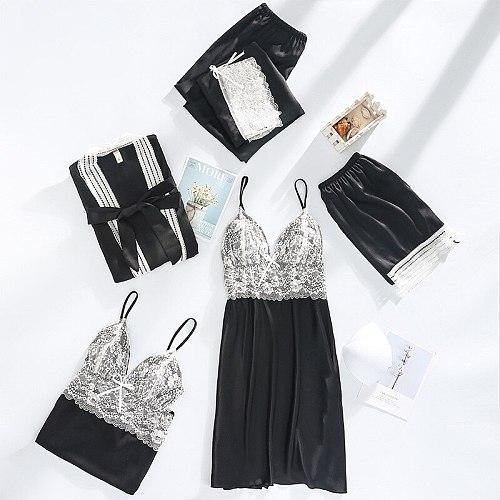 Women 5PCS Pajamas Set Lace Trim Sleepwear Autumn Sweet Bow Home Wear Sexy V-neck Strap Top&Pant Satin Nightwear With Bra